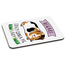 Beware Crazy Guinea Pig Lady PC Computer Mouse Mat Pad - Funny Animal