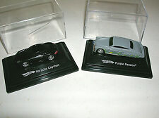 2 Hot Wheels Purple Passion - Porsche Cayman Cars Diecast 1:87 w/ Display Cases
