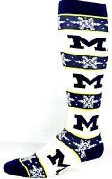 Michigan Wolverines NCAA Ugly Christmas Snowflake Thin Dress Crew Socks