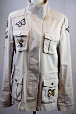 BCBG Maxazaria Women's Jacket Size Large Bronnen Butterflies Beige Colorful Cute