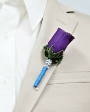 Boutonniere:Purple rosebud turquoise ribbon stem prom wedding homecoming