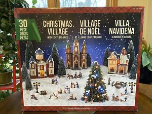 Christmas Village with Lights and Music 30 Pieces Ceramic Holiday Village NEW