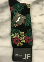 JF J.FERRAR Men's Dress Socks FLOWER PALM BLACK Size 10-13 NWT