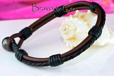 3B-141 Finely Handmade Genuine Leather Hematite Stone New Wristband Men Bracelet