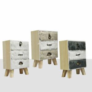 Beistllschrank mit 3 Schubladen Mini Kommode mit Fell Schränkchen Ablagefläche