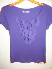 CATO Size S Trendy Short Sleeved Blouse Solid Purple Ruffled Neck FREE SHIPPING