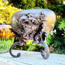 Antique Meiji Period Japanese Bronze Metal High Relief Dragon Bowl