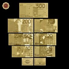 WR Note Europe €5 - €500 Euro Banknote Set 7pcs Gold Plated Note /w Certificate
