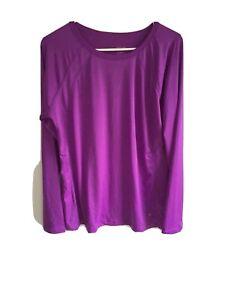 danskin now womens plus size long sleeved activewear top size:2X purple