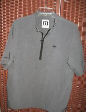 "TravisMathew golf pullover M mens 44"" Chest top 1/4 zip jacket short sleeve gray"