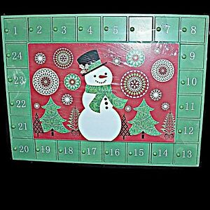 Michaels Wood Christmas Advent Calendar Wooden Drawers Green Red Snowman 12 x 16