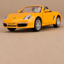 2006 Porsche Yellow Die Cast 1:34 Scale Model Car Blue Pull-Back Opening Doors