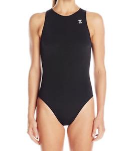 TYR Women's Black Never Fade Zip Back One Piece Swimsuit Sz 30 60525