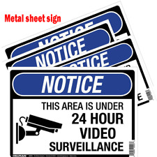 Surveillance Security Camera sign under 24 hr watch Metal Indoor Outdoor sign