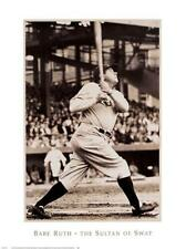 Babe Ruth SULTAN OF SWAT New York Yankees Black-and-White Classic POSTER Print