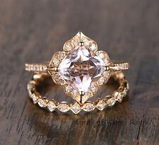 2 Ring Sets! Cushion Cut Morganite Diamonds Wedding Engagement,14K Yellow Gold