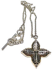 """LOIS HILL ORNATE SCROLL CROSS LIKE STERLING SILVER CABLE CHAIN NECKLACE 17.5"""""""