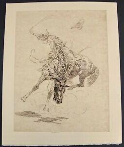 "Edward Borein ""The Twister"" Restrike Etching On Manila Paper 15 1/2"" X 12 1/4"""