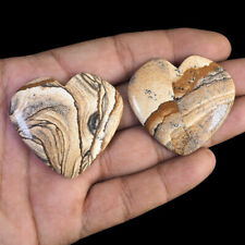 2 Pcs Natural Picture Jasper USA 41mm-42mm Heart Top Quality Loose Cabochon Gems
