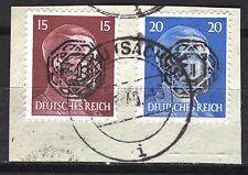 Löbau 11 + 13 Briefstück, 15 + 20 Pf. Hitler mit Aufdruck, gepr. Zierer BPP