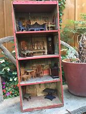 Dunham Cocoanut Dollhouse, Coconut Box Crate Antique WITH Furniture Included