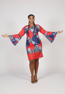 African Print With Lace Bell Sleeve Sexy Party Dress Size-UK10,12,14,16,18