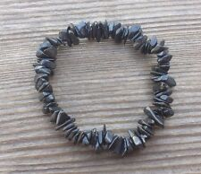 NATURAL BLACK TOURMALINE STONE GEMSTONE STRETCHY CHIP BRACELET