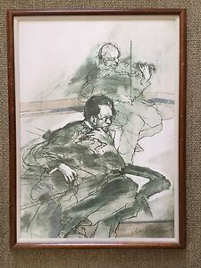 """Claude Weisbuch Signed Lithograph 3/250 Framed """"Le Mélomane"""""""