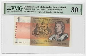 1968 AUSTRALIA $1 P27b PMG 30 EPQ RARE PM130-18b