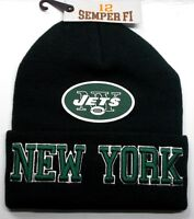 READ LISTING! New York Jets Flat Logo on 3D Embroidered Beanie Knit Cap hat!