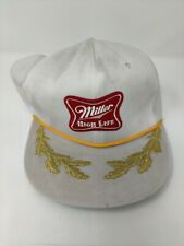 Vintage Miller High Life Beer White & Gold Baseball Hat Collectible Trucker Cap