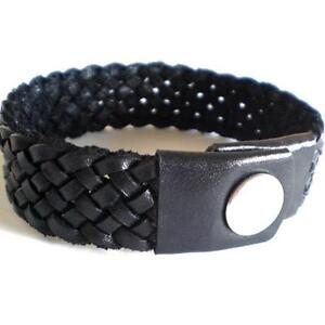 BLACK HAND MADE QUALITY REAL LEATHER PLAITED BRACELET WOVEN WITH PRESS STUD