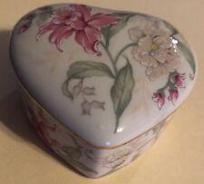 PRIMA OTAGIRI Heart Shaped Trinket Jewelry Box Fine China Porcelain Floral JAPAN