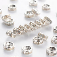 1000x Iron Rhinestone Spacer Beads Straight Edge Rondelle Silver Color Clear 6mm