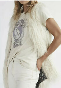 New Free People Mongolian Faux Fur Vest Soft Sun Sz Small