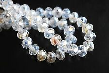 200Pcs Clear AB Crystal Glass Faceted Rondelle Beads 3mm Spacer Jewelry Findings