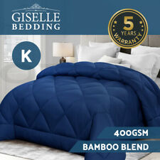 Giselle Bamboo Quilt Queen Microfibre Microfiber Doona 3 Size All Season Blue
