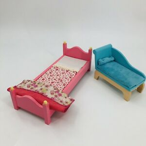 Toys R Us Geoffrey Wood Barbie Doll Furniture - Chaise Lounge Couch & Twin Bed