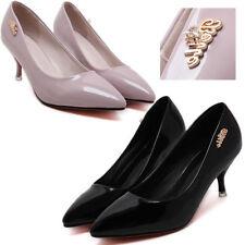 Patternless Patent Leather Kitten Heels for Women