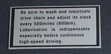 Suzuki GT750 Kettle, GT550/380/250/185 Decal/Sticker - Chain Lubrication .