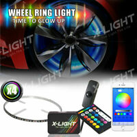 "4x 15"" RGB Rings for Truck Car Wheel Rims Lights Kit w/Sound Active Brake Mode"