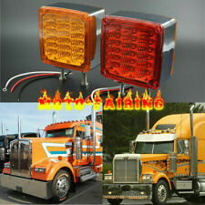 12v 39LED Square Double Face stud Mount Fender Stop Turn Tail Light Amber/Red AA
