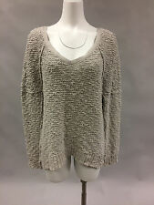 Womens FREE PEOPLE Nubby Thick Chunky Knit Cream Ivory Oversize Soft Sweater SM
