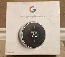 Google Nest 3rd Generation Learning Thermostat T3008US Polished Steel Chrome