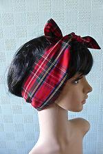 Red tartan hair scarf red plaid headband bandana tartan hair wrap pin up