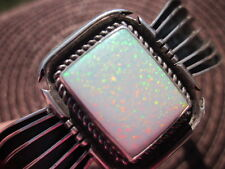 "Up To 6 1/2""  James Navajo Sterling ""Art Deco"" Square Lab Opal Cuff Bracelet"