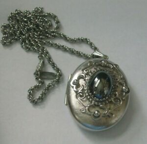 Whiting & Davis Hematite Photo Locket Necklace