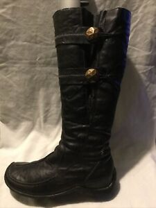 Rieker Ladies Below Knees Boots UK Size 6 EU Size 39 Black Patent Leather