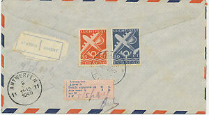 "BELGIUM ""ANTWERPEN"" K1 Ank.-Stpl. R-Lupo-Bf Curacao 1949 EARLY AFTER WAR AIRMAIL"