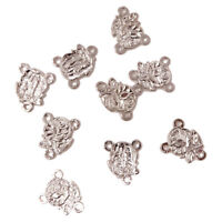 10 x Catholic junction for rosary beads rose center silver metal 2cm centrepiece